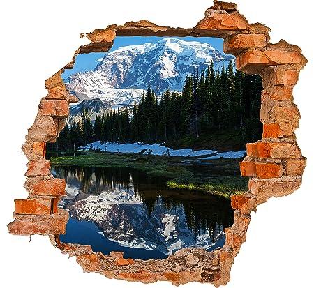 Paesaggio Di Montagna Disegno.Wandmotiv24 Adesivo Murale 3d Foresta Con Un Lago Su Un Paesaggio