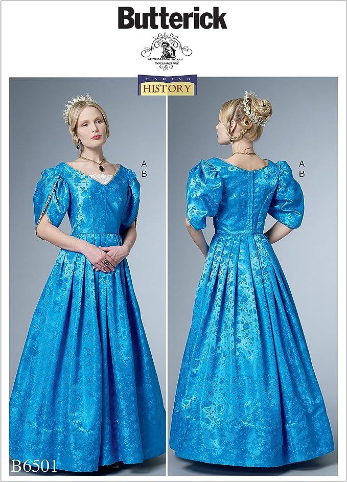 Victorian Dresses, Clothing: Patterns, Costumes, Custom Dresses Butterick Patterns 6501 E5Misses CostumeSizes 14-22 Tissue Multi-Colour 17 x 0.5 x 22 cm £8.95 AT vintagedancer.com
