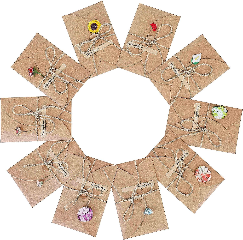 Tarjeta de Felicitación 10 pcs Papel Kraft Retro Hecho a Mano tarjeta de agradecimiento para Navidad Boda Regalo Cumpleaños Fiesta Año Nuevo 17,5x11cm