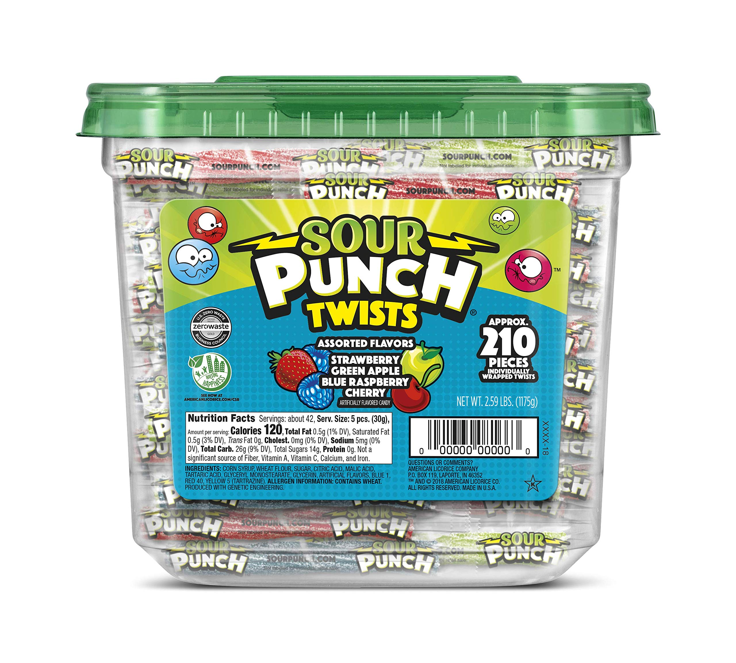 Sour Punch Sour Punch Twists, 3'' Individually Wrapped Chewy Candy, 4 Fruity Flavors, 2.59LB Jar by Sour Punch
