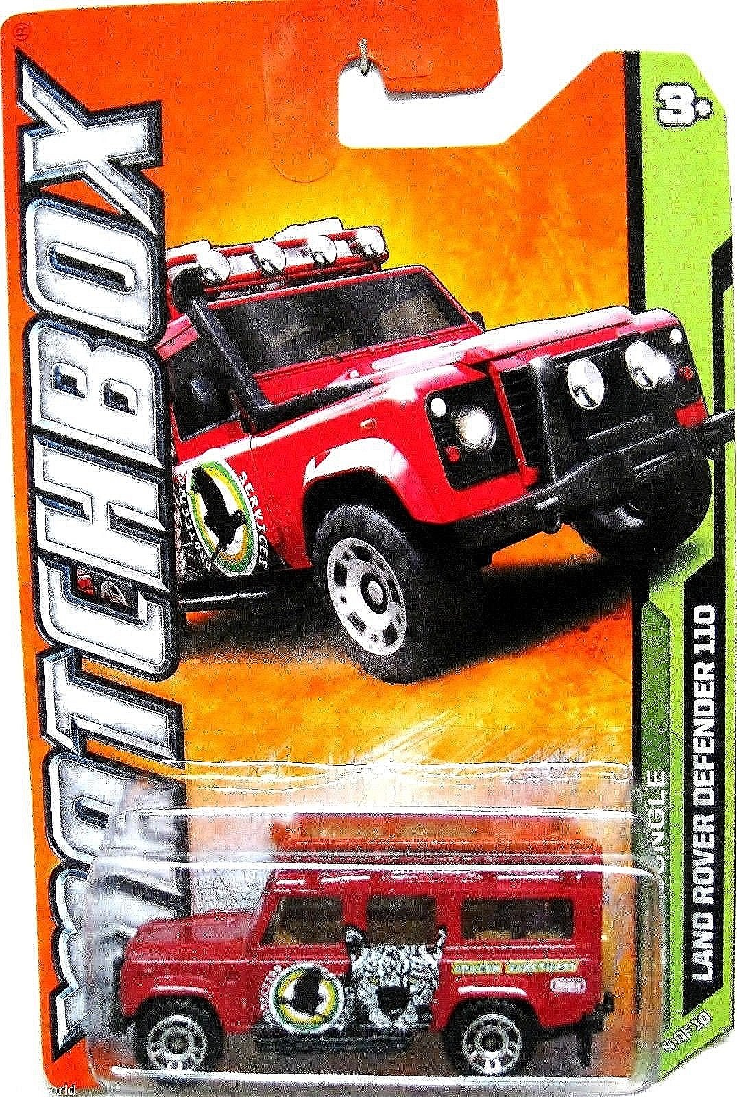 Matchbox 2012-104 MBX Jungle Land Rover Defender 110 RED 1:64 Scale