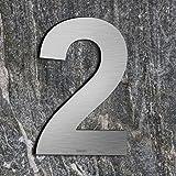 qobobo® Número Casa 2 Dos Signo Vivienda Calle de 304 Acero Inoxidable Cepillado , 200mm