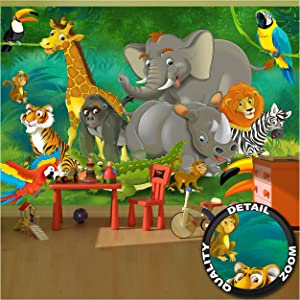 GREAT ART Kid's Room Nursery Large Photo Wallpaper – Jungle Animals – Picture Decoration Zoo Wildlife Nature Safari Adventure Lion Elephant Image Decor Wall Mural (132.3x93.7in - 336x238cm)