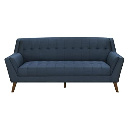 Emerald Home Binetti Navy Sofa with Angular Arms And Legs, Deep Tufting, And Stitching Details