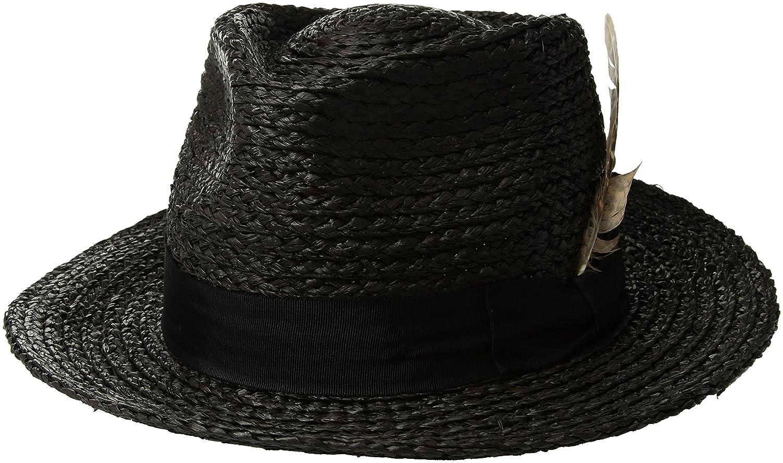 Brixton Men's Crosby Medium Brim Straw Fedora Hat 00853