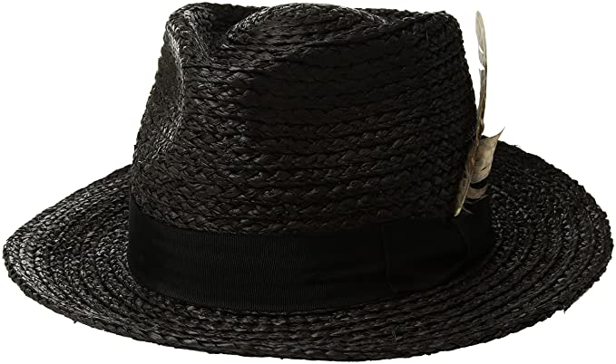 27f7fd6b6cfe08 Amazon.com: Brixton Men's Crosby Medium Brim Straw Fedora Hat: Clothing
