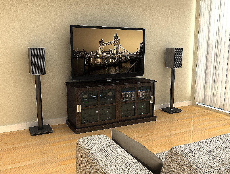 Atlantic Adjustable Speaker Stands 2-Pack Black – Steel Construction, Pedestal Style & Wire Management for Bookshelf…