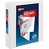 "Avery Heavy-Duty View Binder, 2"" One Touch Slant Rings, 500-Sheet Capacity, DuraHinge, White (79792)"