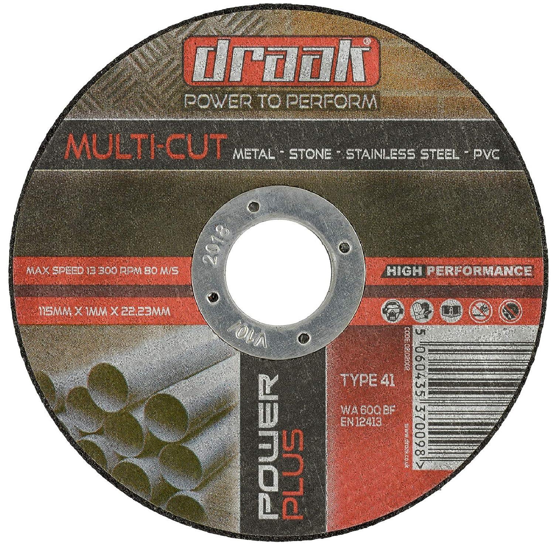 draak 10/x 115/mm x 1/mm Multi disco de corte de metal/ /PVC /acero inoxidable/ /Piedra/ en lata