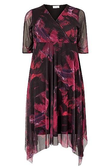 c6e0702a6b Yours Women s Plus Size London Black   Mesh Midi Dress with Hanky Hem Size  ...