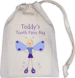 Personalised - Boy Tooth Fairy Bag - Tiny NATURAL Cotton Drawstring Cotton Bag