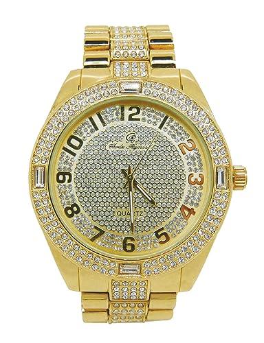Los ricos y famosos fácil lector Dial Iced Out Hip Hop Reloj para hombre y juego de brillantes ID Estilo Funda Enlace Pulsera - 8546b oro: Charles Raymond: ...