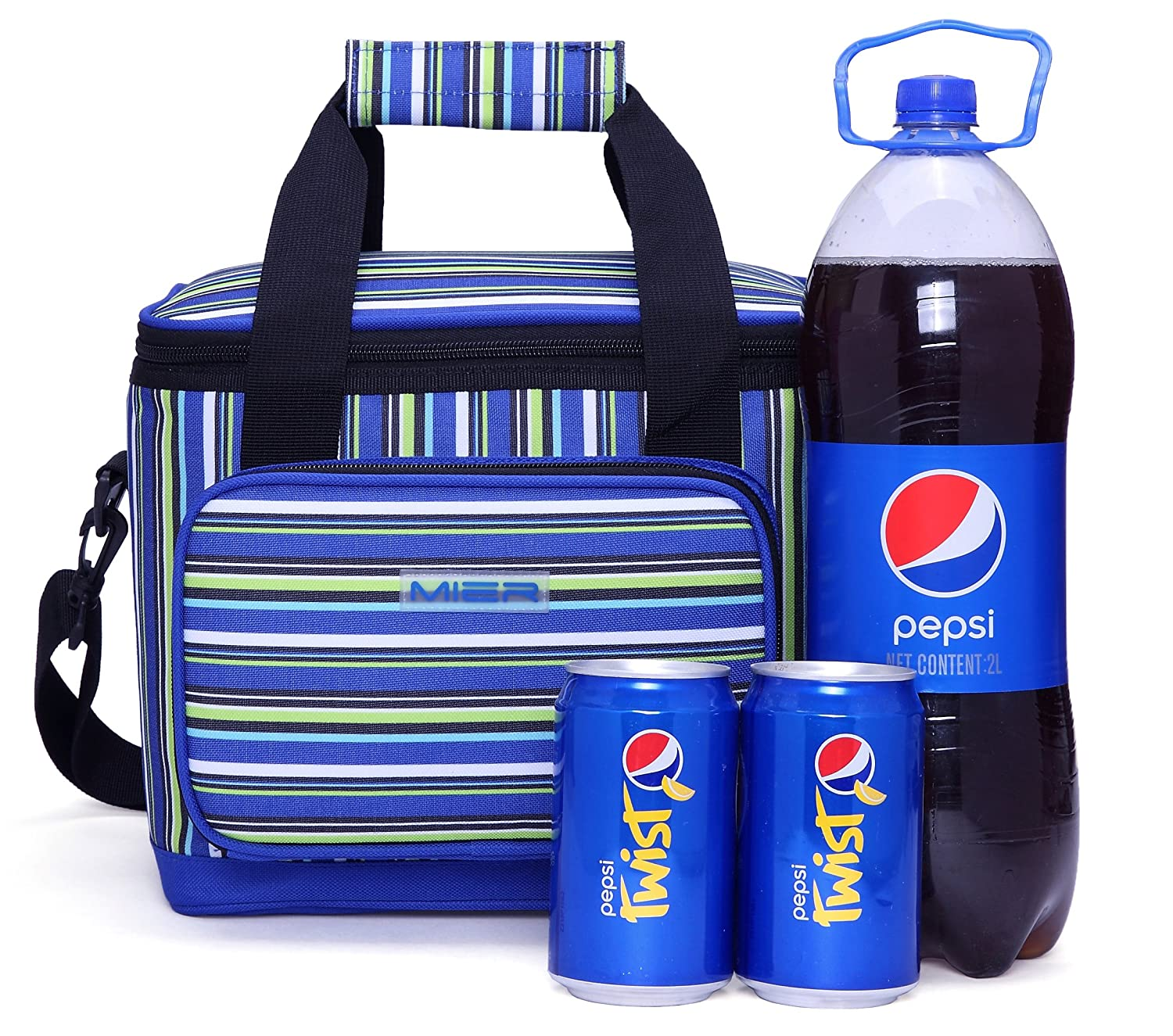 Lunch Box Stripe Freezable Picnic Bag for Women and Men (Blue