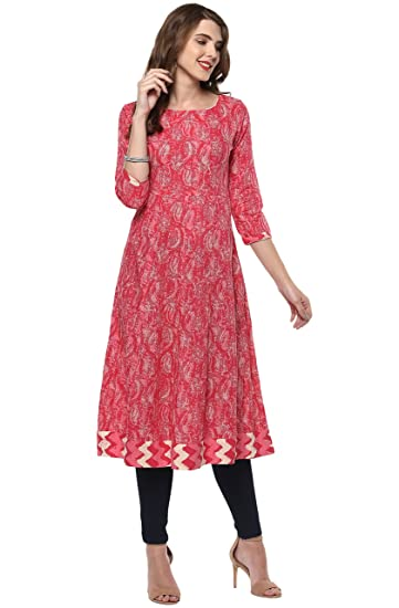 Janasya Women's Cotton Anarkali Kurti Kurtas & Kurtis at amazon