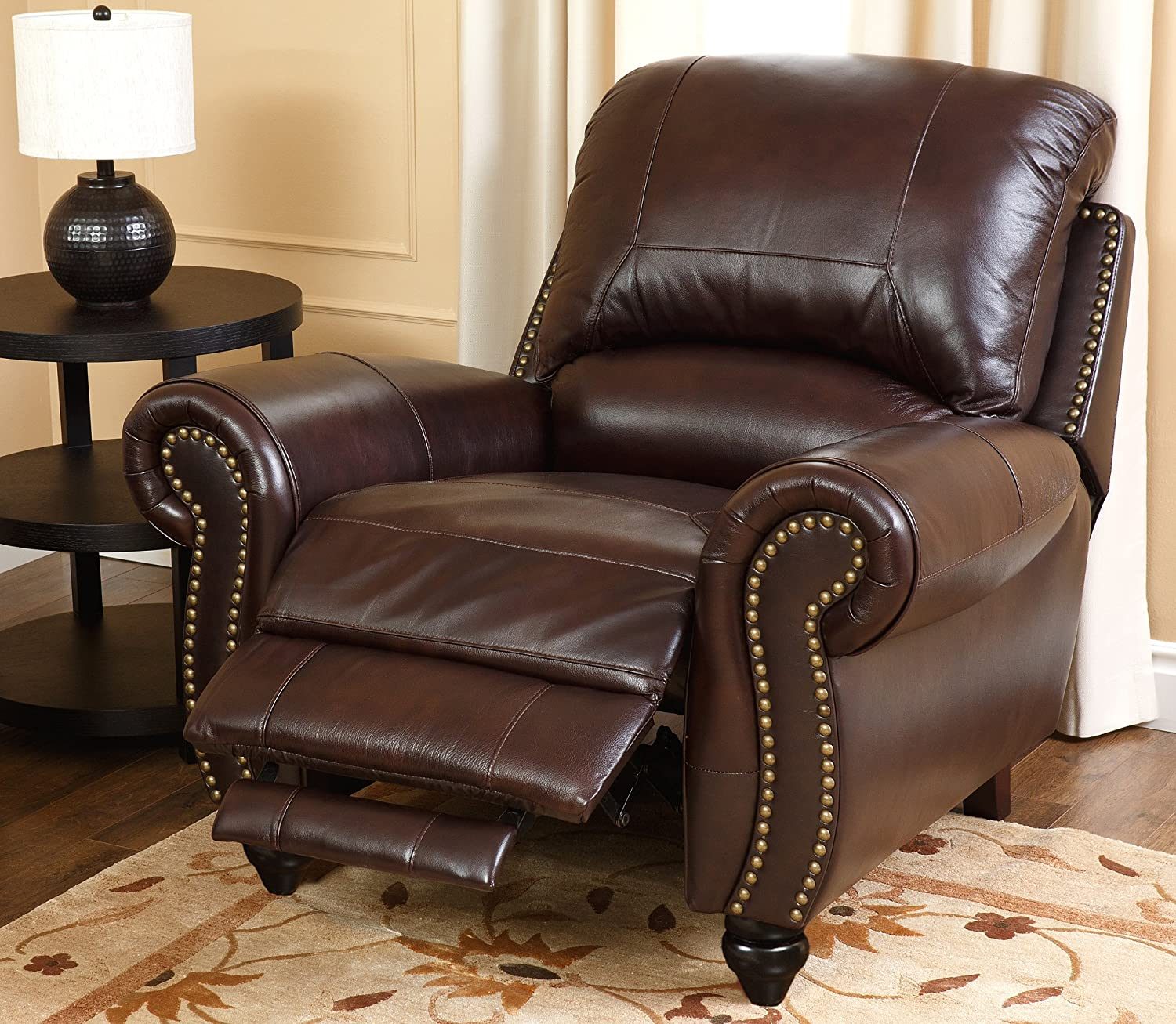 Amazon Abbyson Durham Leather Pushback Reclining Armchair