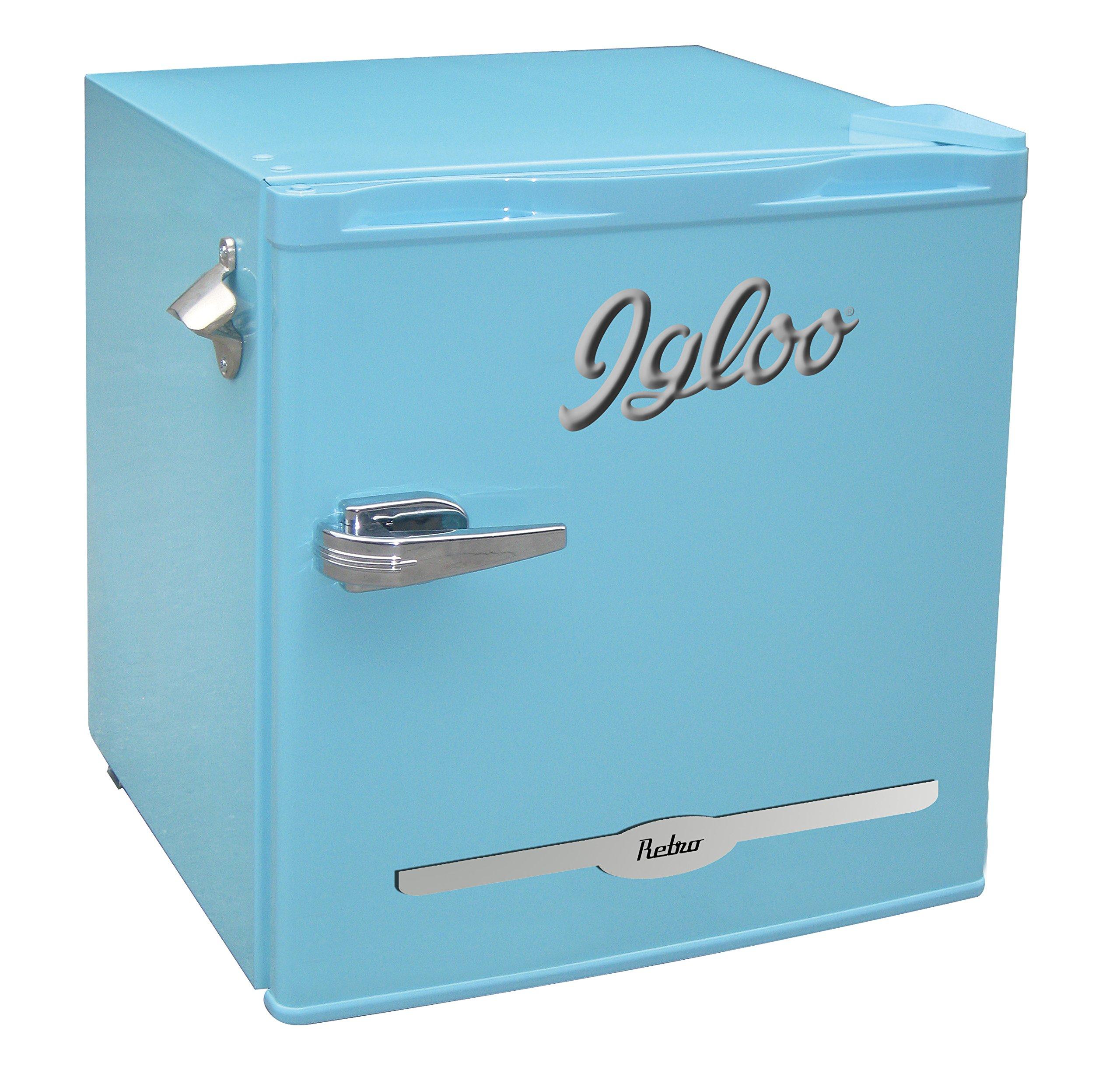 Igloo FR176-BLUE 1.6 cu. ft. Retro Bar Fridge with Side Bottle Opener, Blue