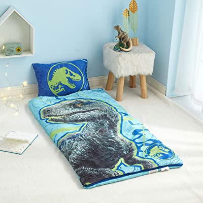 "Jurassic World 2 Indoor Slumber Set, Zip Around Sleeping Bag with 13""x18"" Pillow, Ages 3+, 46""x26"", Blue: Sports & Outdoors"