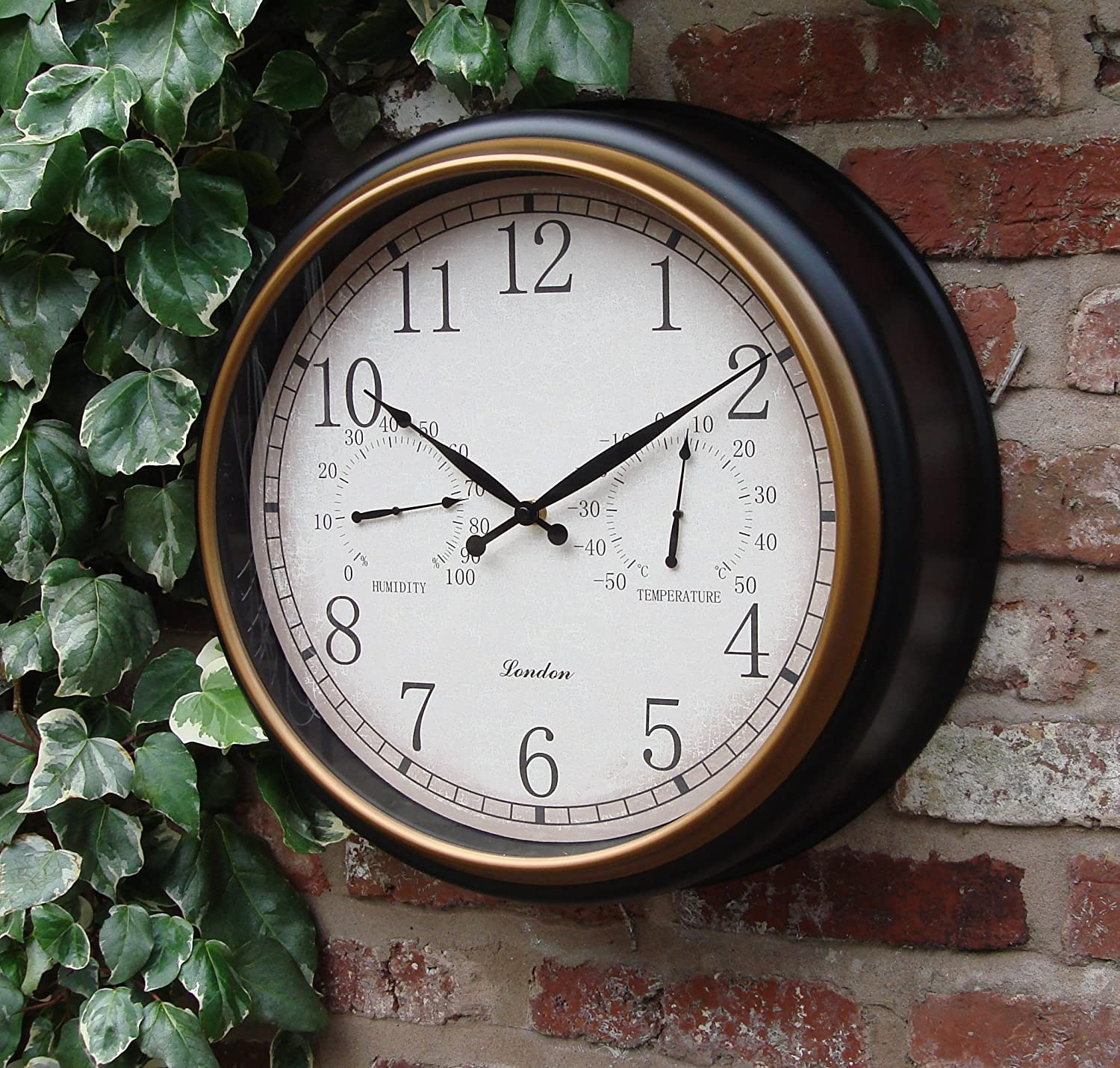 Outdoor Garden Wall Clock Thermometer & Humidity 45cm Black Frame colour Home and Garden Products Ltd