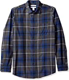 Amazon Essentials Men's Regular-Fit Long-Sleeve Plaid Flannel Shirt, Blue/Charcoal Heather, Small