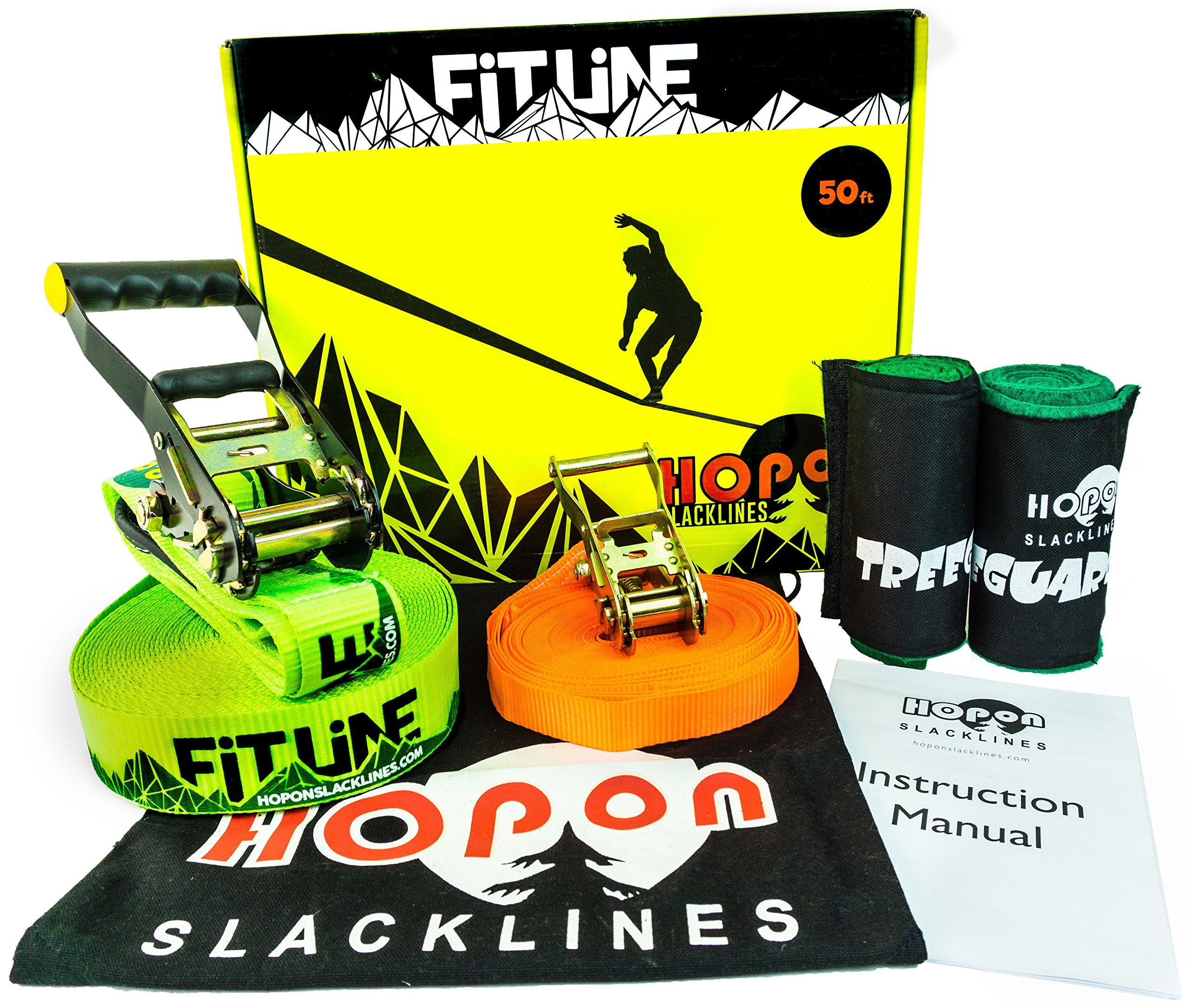 Complete Slackline Kit for Kids and Adults Balance Fun, Exercise and Fitness 50 Foot Green FITLINE includes Training Line, 2x Tree Protectors and Carry Bag Easy Setup for Beginners by HopOn Slacklines