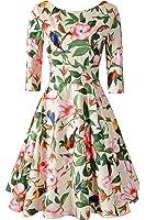Chicanary Women's Back V-neck 3/4 Sleeve Swing Vintage Dress