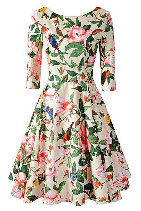Pin Up Dresses | Pin Up Clothing Chicanary Womens Back V-neck 3/4 Sleeve Swing Vintage Dress $35.99 AT vintagedancer.com