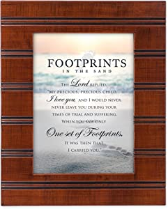 Cottage Garden Footprints in The Sand Wood Finish 8 x 10 Sentimental Framed Art Plaque - Holds 5x7 Photo