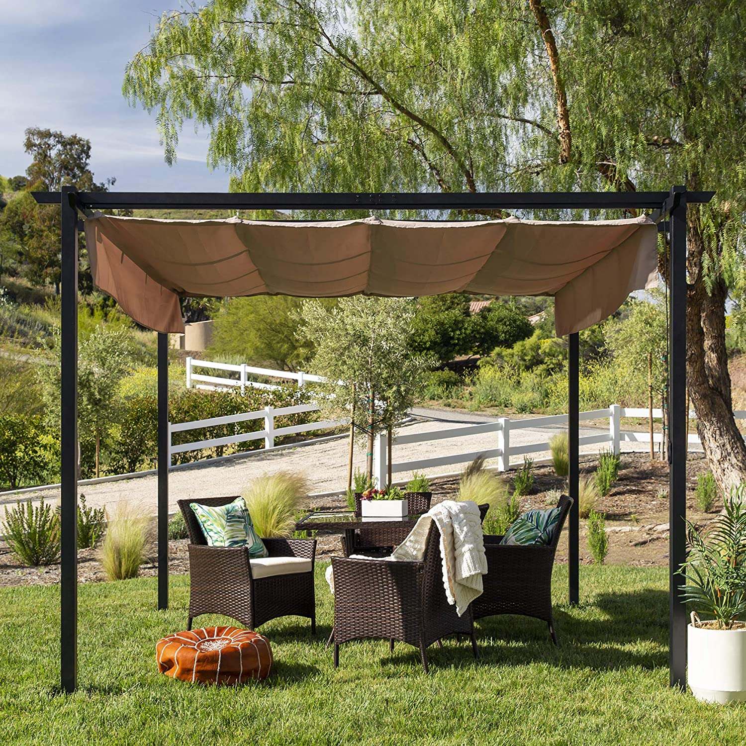 Steel Frame Best Choice Products 10x10ft Extra-Large Outdoor Pergola Shelter for Backyard /& Patio w//Removable Retractable Sun Shade Canopy Cover Weather-Resistant Fabric 16 Ground Stakes