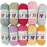 BambooMN Brand - Cotton Select Bonbon Yarns - Assortment 95 (Color E) - 10x 10g Solid Color Mini Ball - 1 Pack