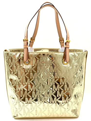e669016b112f Michael Kors Jet Set Grab Bag MK Logo Mirror Metallic Tote Purse Bag Handbag  in Pale Gold: Handbags: Amazon.com