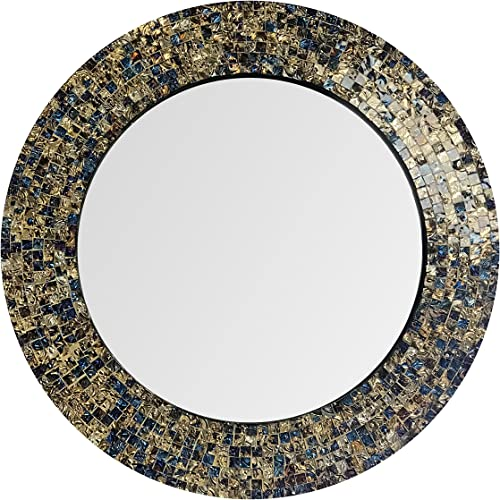 DecorShore 20 Jewel Tone Accent Mirror, Round Decorative Wall Mirror w Embossed Glass Mosaic Tile Frame Fired Gold