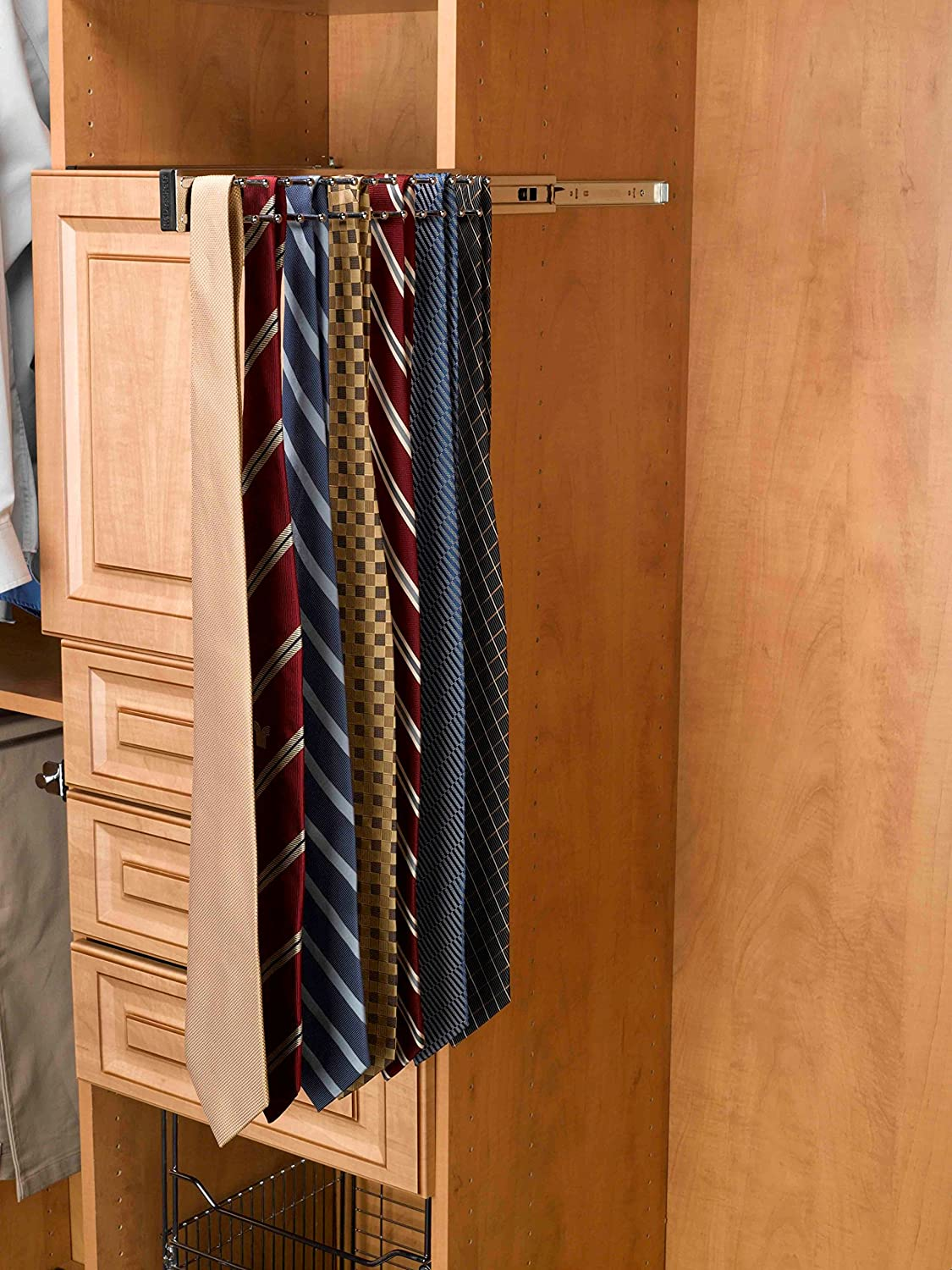 Rev-A-Shelf-12 Oil Rubbed Bronze Pull-Out Side Mount Tie Rack TRC-12ORB