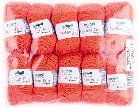 Gründl Cotton Fun Lana, algodón, algodón, Naranja, 27.00 x 11.00 x 07.00 cm: Amazon.es: Hogar