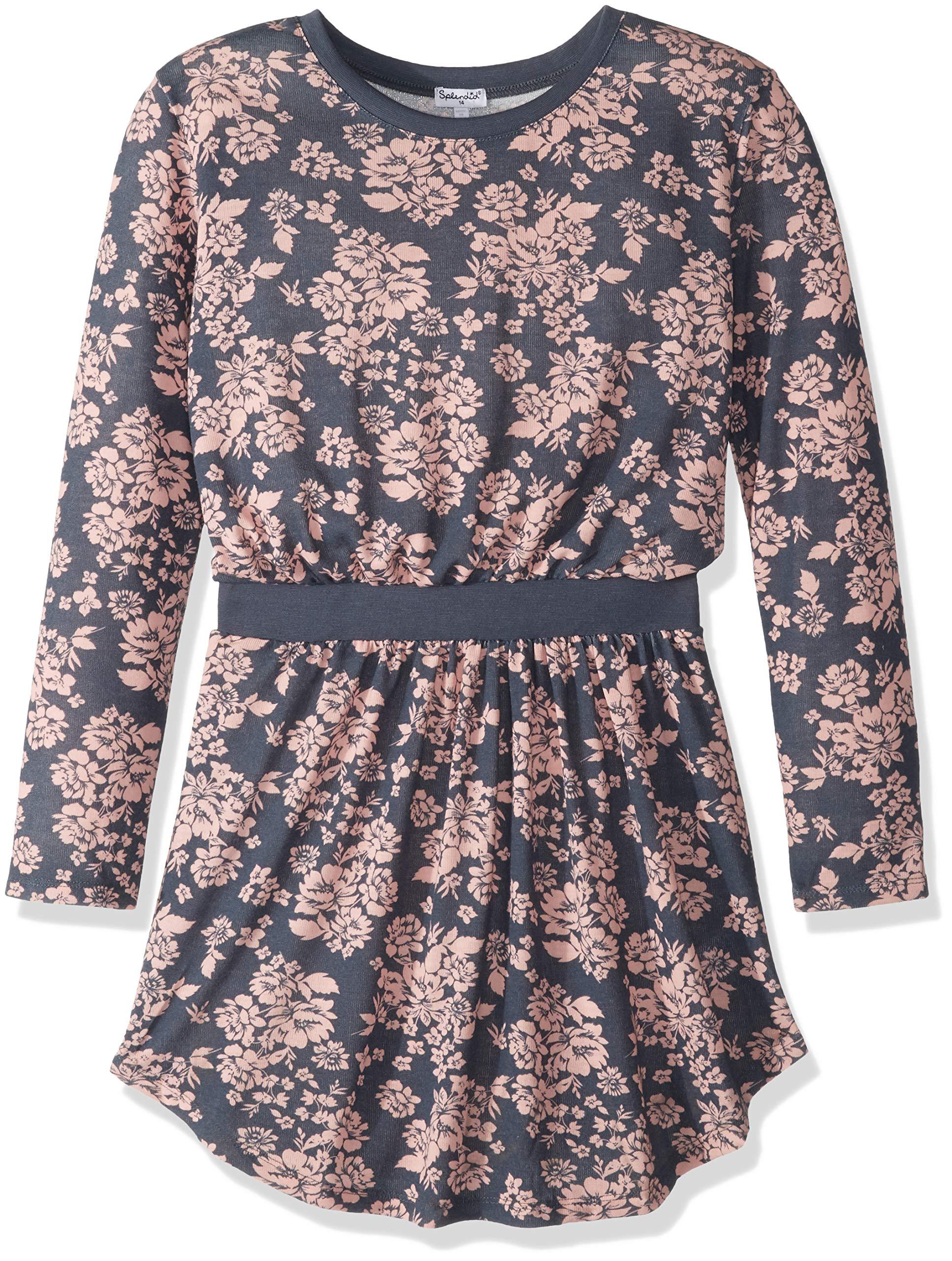 Splendid Girls' Toddler Floral Dress, Ombre Blue, 3T