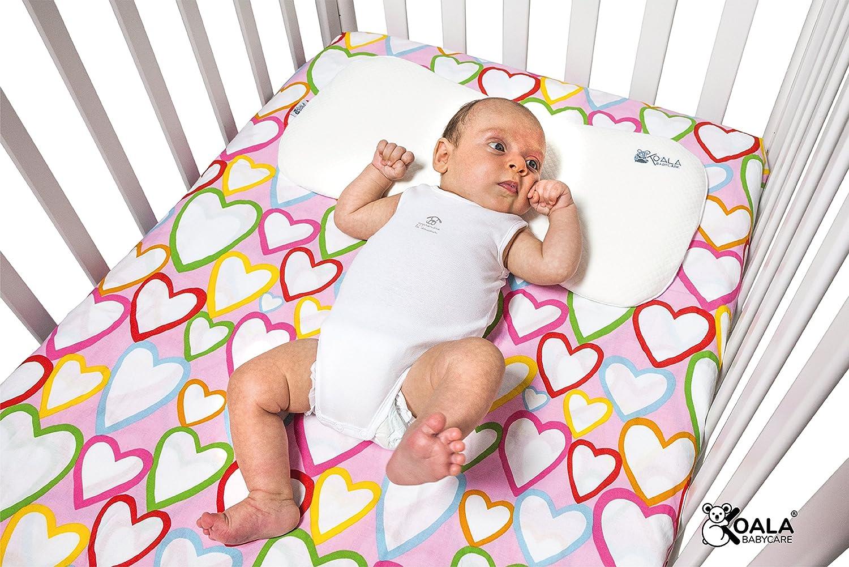 Almohada Plagiocefalia bebé de lactancia Koala Babycare® en memory foam para la prevención y el tratamiento de la plagiocefalia (cabeza plana) con funda extraíble (con 2 fundas de almohada) - Azul
