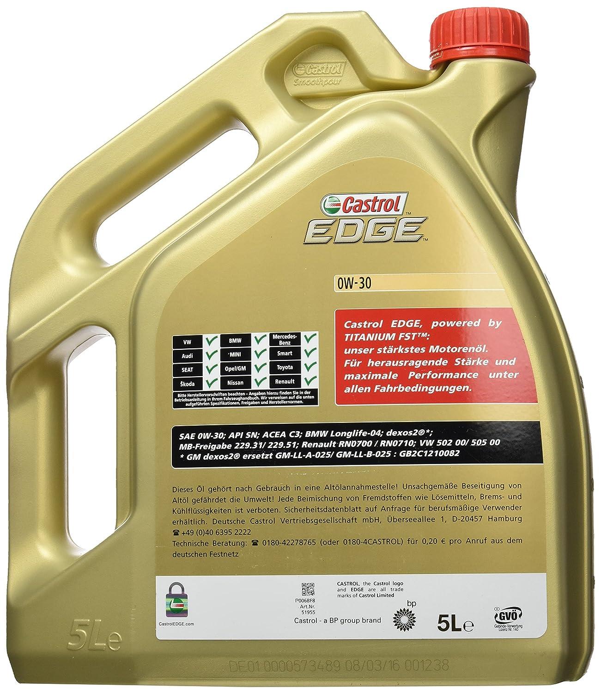 Castrol EDGE Aceite de Motores 0W-30 5L (Sello alemán): Amazon.es: Coche y moto