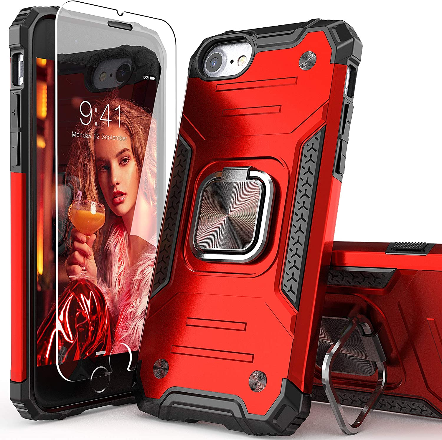 IDYStar iPhone SE 2020 Case with Tempered Glass Screen Protector, Hybrid Drop Test Cover with Card Mount Kickstand Slim Fit Protective Phone Case for iPhone 6/6s/7/8/SE 2020, Red