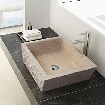 MAYKKE Branson 20 Inch Rectangular Bathroom Stone Sink, Yellow Natural Stone  Marble Sinks For Bathroom