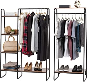 IRIS USA Metal Garment Rack with Wood Shelves Combo, Black/Dark Brown