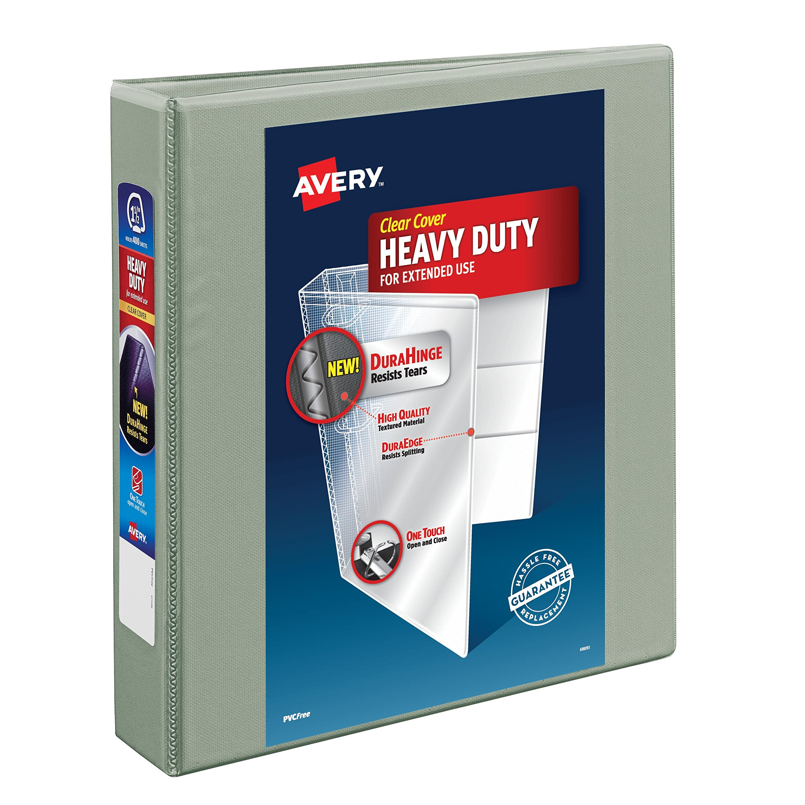 Avery Heavy-Duty View Binder with 1.5-Inch One Touch EZD Ring, Gray (79405)
