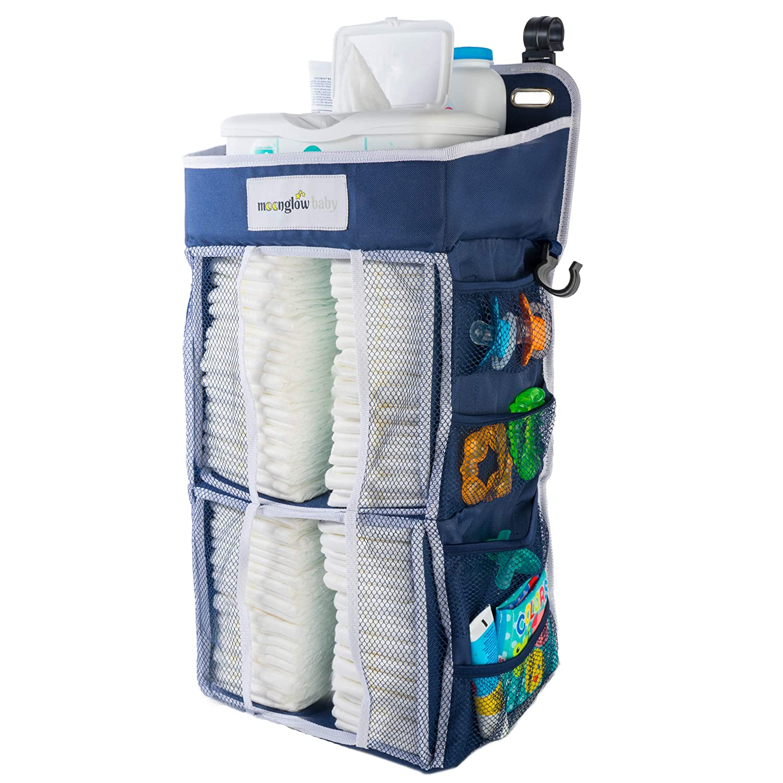 Nursery Diaper Organizer (Now w/Double The Diaper Storage) | Baby Essentials Caddy and Hanging Organizer