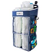 Nursery Diaper Organizer (Now w/Double The Diaper Storage) | Baby Essentials Caddy and Hanging Organizer | Attaches to Crib, Playard, or Changing Table (Blue)