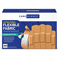 Care Science Antibacterial Fabric Adhesive Bandages, 200 ct Assorted Sizes | Flexible + Breathable Protection Helps…