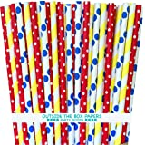 Outside the Box Papers Circus Theme Polka Dot and Stripe Paper Straws 7.75 Inches 75 Pack Red, Blue, Yellow, White