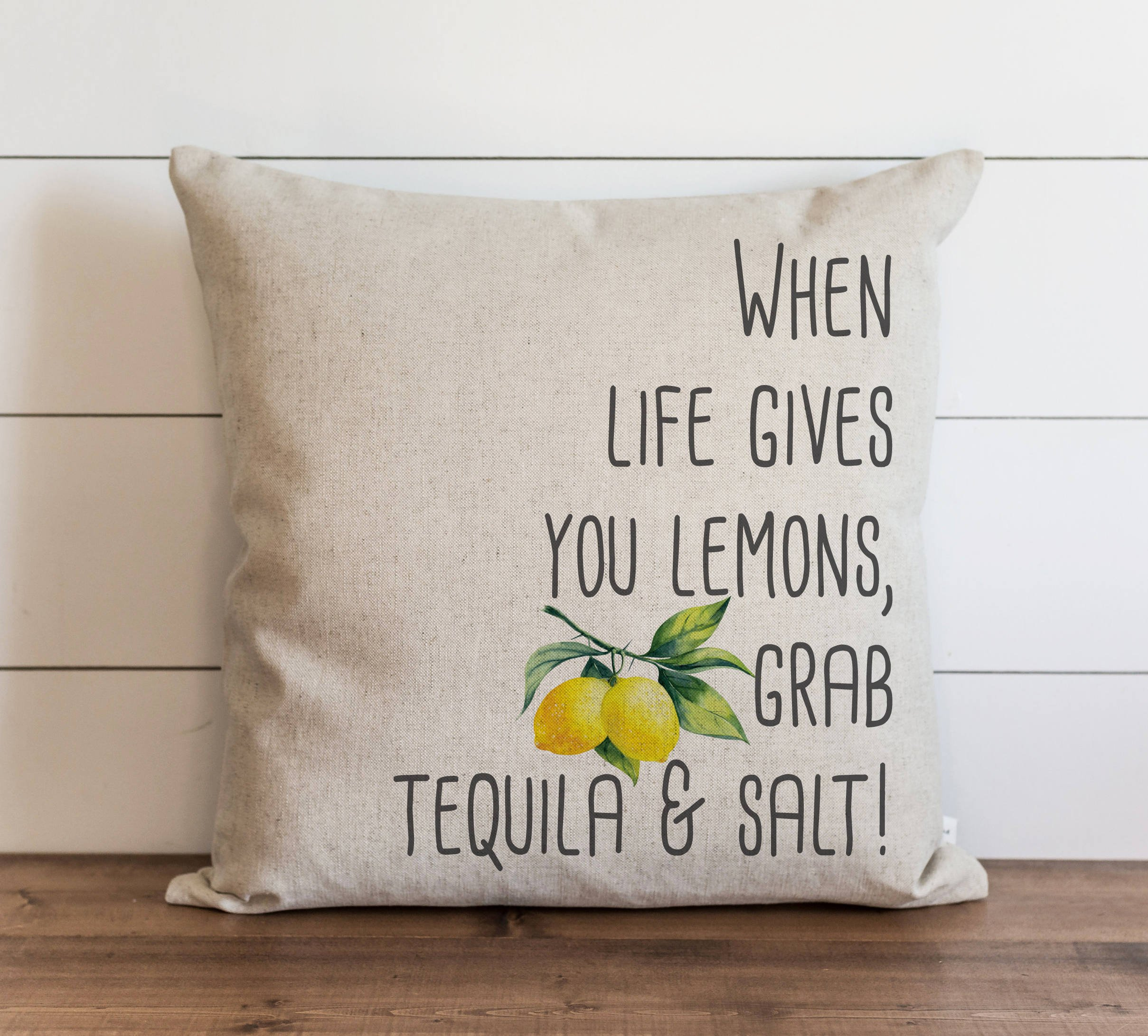CAROLJU When Life Gives You Lemons Grab Tequila and Salt 18 x 18 inch Pillow Cover Summer Everyday Tropical Fruit Gift Accent Pillow