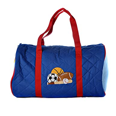 aa04c8ae04b3 Personalized Stephen Joseph quilted duffel traveling bag embroidered with  your name or text (Blue Sports