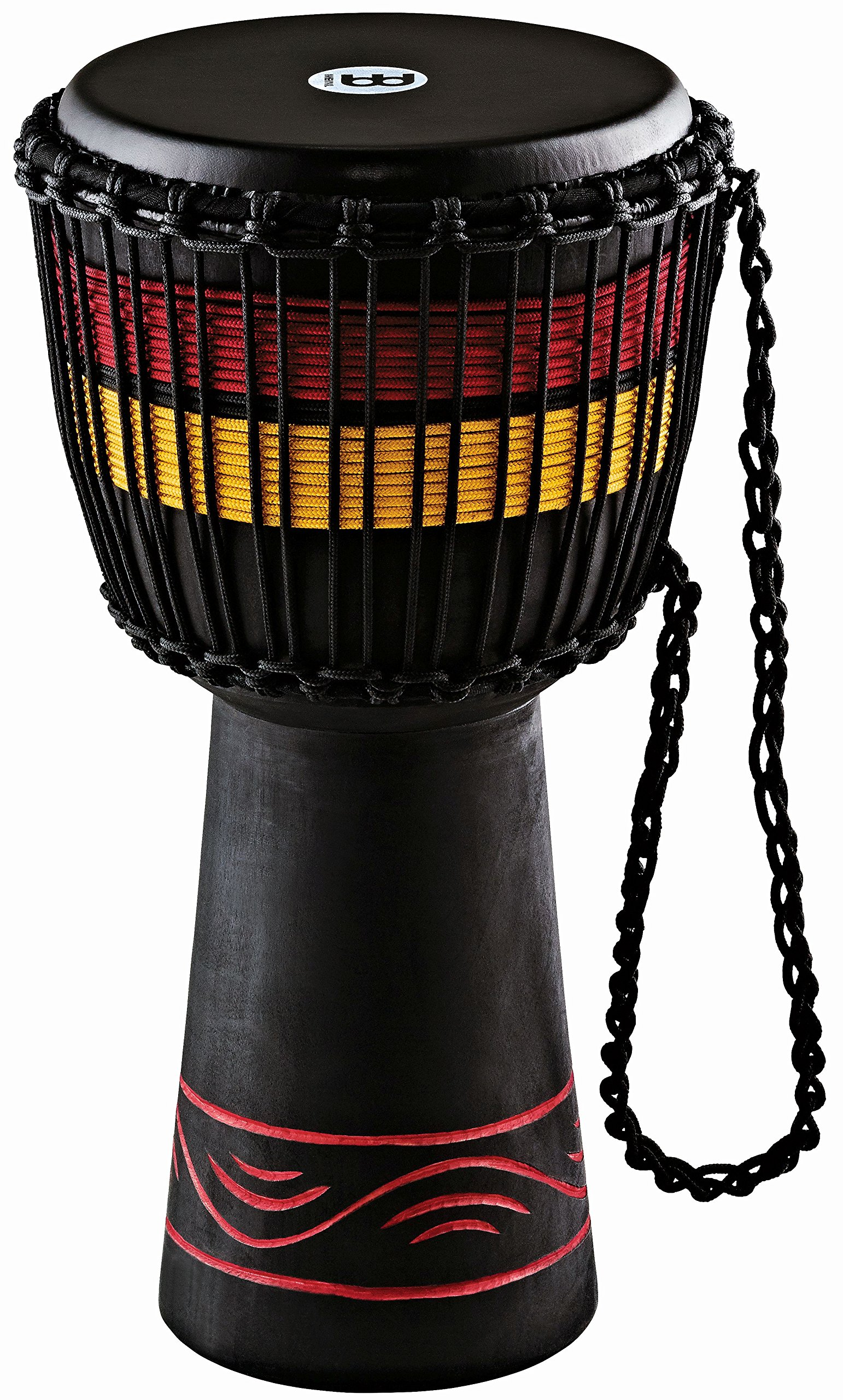 Meinl Percussion ADJ7-M African Style Fire Rhythm Series Rope Tuned 10-Inch Wood Djembe, Black, 10'' x 20'' (