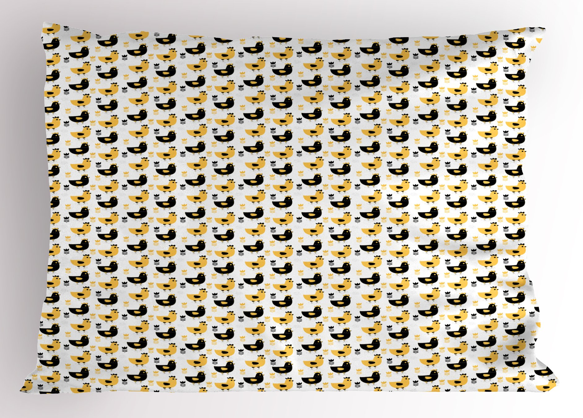 Lunarable Animals Pillow Sham, Agriculture Pattern with Farm Chickens Print and Graphic Tulips Image, Decorative Standard Size Printed Pillowcase, 26 X 20 inches, Black White and Mustard