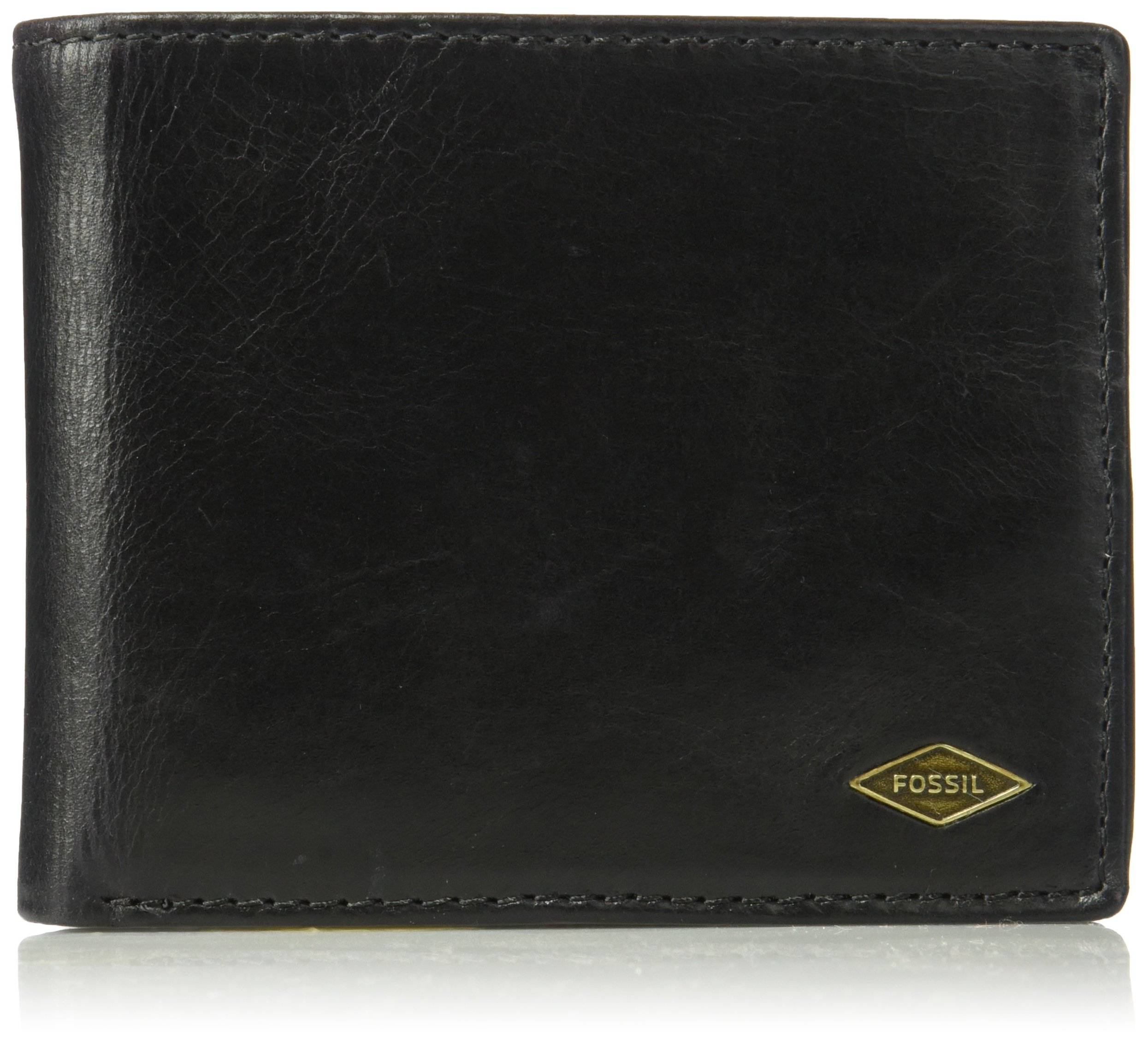Fossil Men's Leather RFID Blocking Bifold Flip ID Wallet, Black, One Size