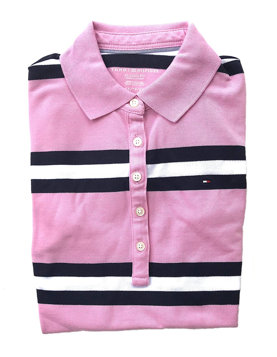 Tommy Hilfiger Women's 5 Button Striped Polo Shirt